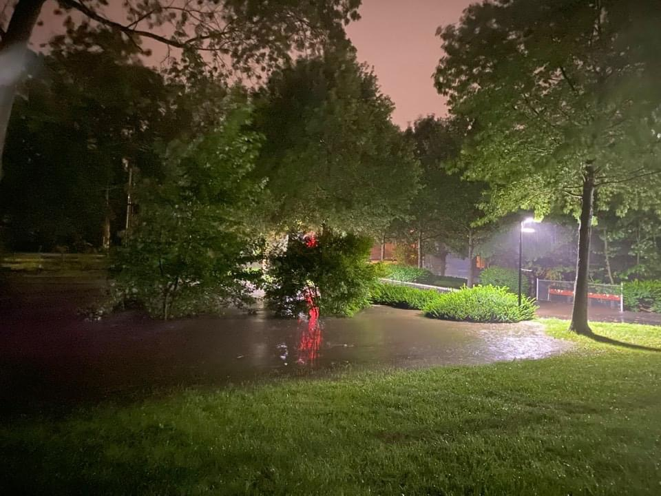 Flood waters submerge parts of campus