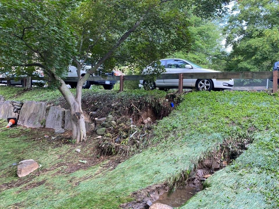 Flood waters rip up parts of campus