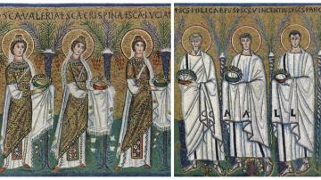 Female and Male Saints, 6th c., Sant' Apollinare Nuovo, Ravenna, Italy