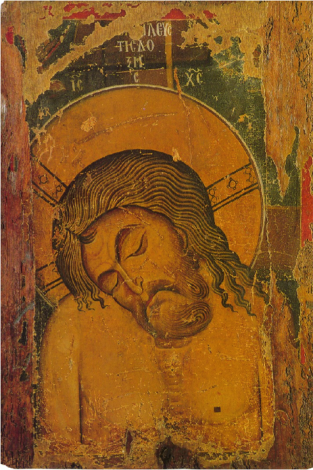 Man of Sorrows. Double sided icon; Byzantine Museum, Kastoria, Greece; Byzantine, second half of the 12th century.